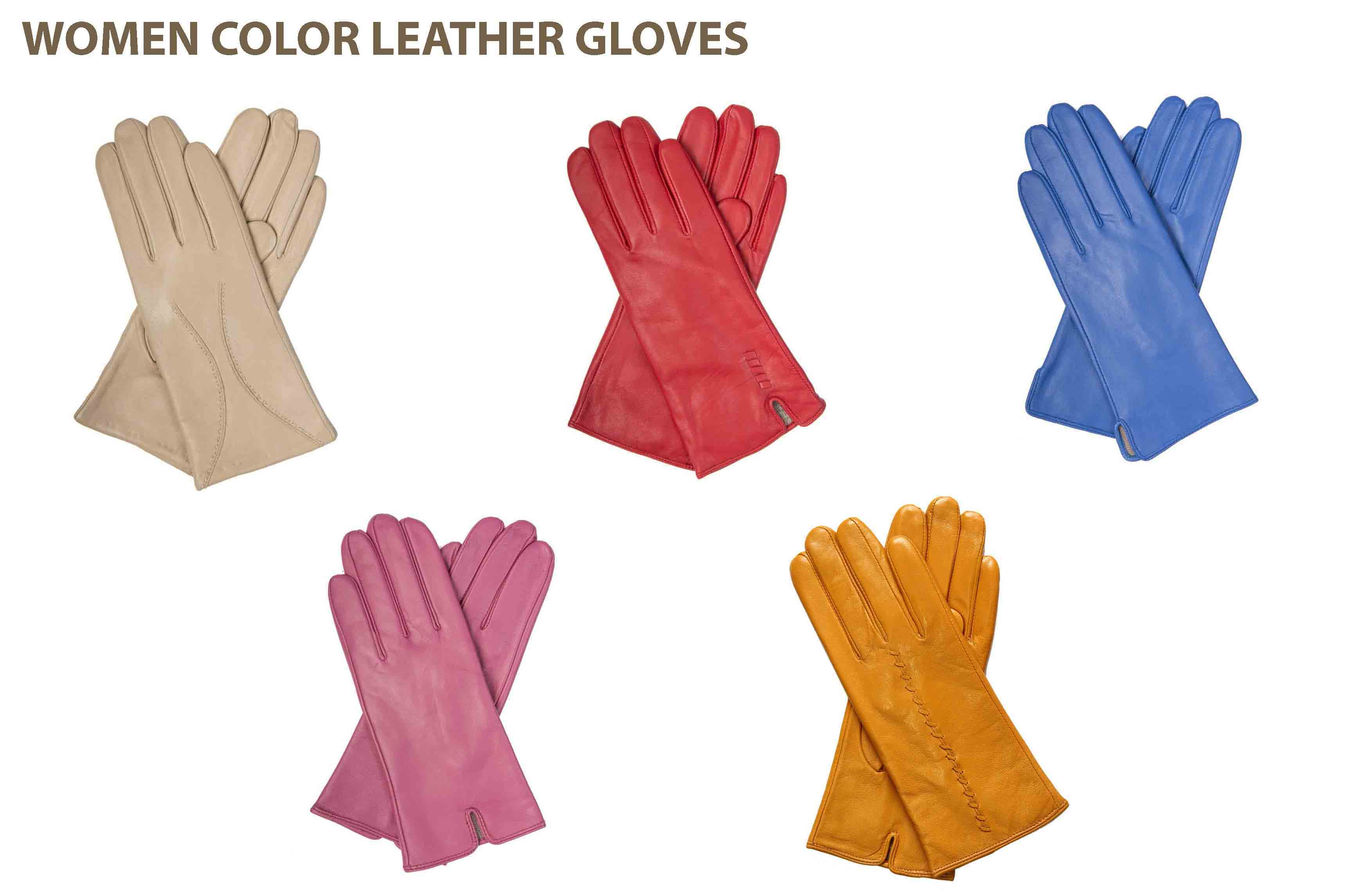 Womens colored leather gloves - 18665 Women Color Leather Gloves Europe