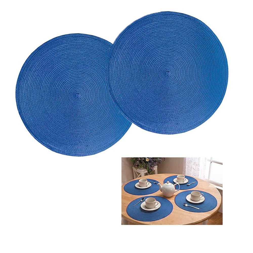 21136 - Round Woven Placemat – Blue Straw USA