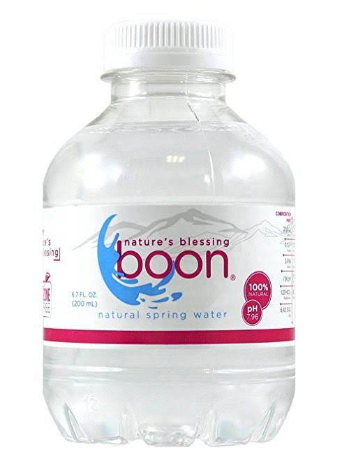 21748 - Boon Natural Spring Water Flat Cap Bottles 6.7 FL OZ (Pack of 12) USA
