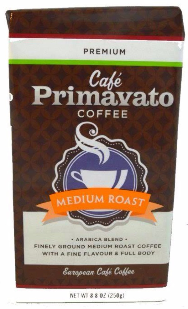 "22837 - ""Cafe Primavato"" Medium Roast Arabica Blend Ground Coffee 8.8 Oz Bag (250 Gram) USA"