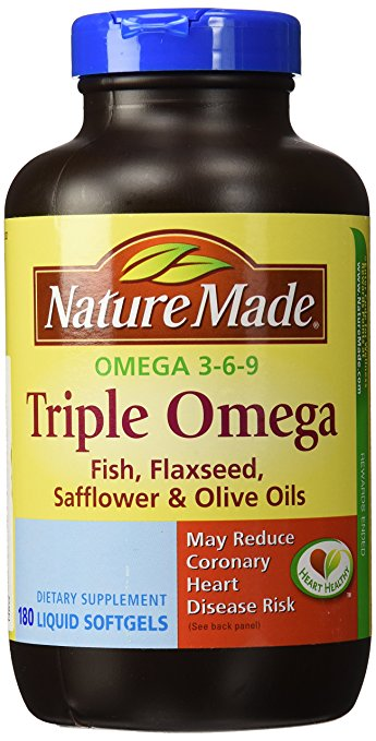 23436 - Nature Made Triple Omega 3 6 9 - Fish, Flaxseed, Safflower & Olive Oils - 180 Softgels USA