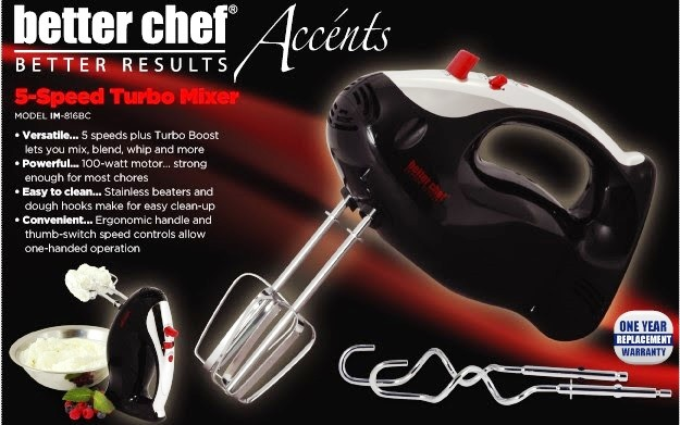 25586 - Better Chef 5-speed Turbo Mixer with Chrome Accents- IM-816BC USA