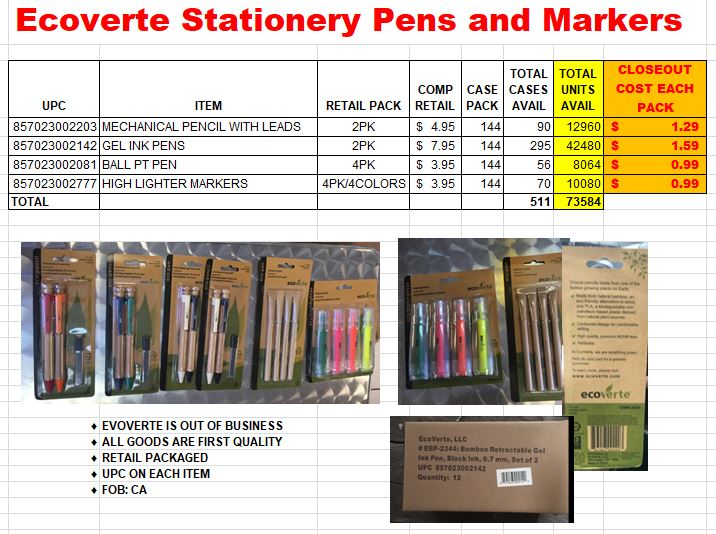 25588 - Ecoverte Stationery Pens and Markers - Pens, Mechanical Pencils and Highlighters Closeout USA