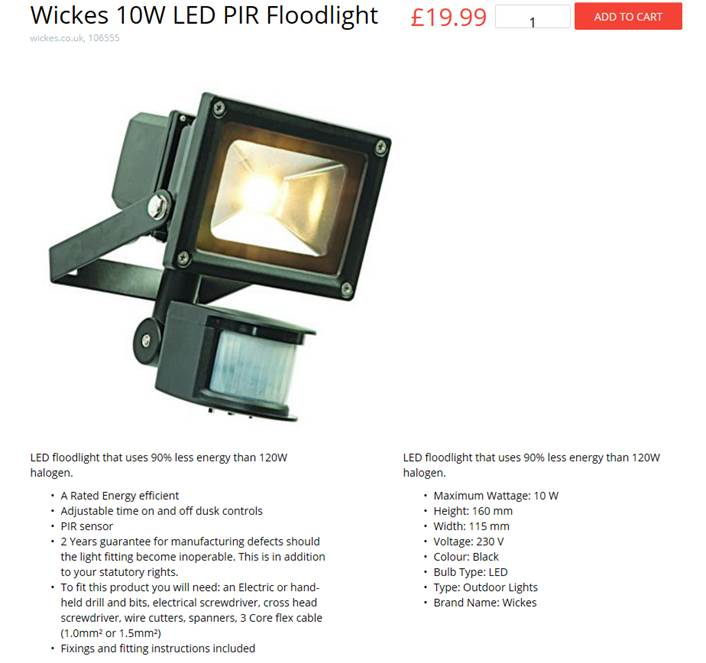 26432 - 10w floodlight with PIR Europe