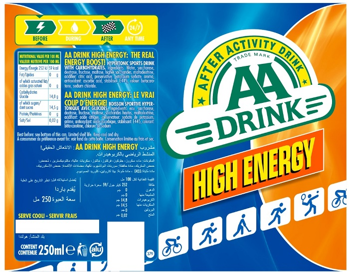 28303 - AA Drink, 250ml cans Europe