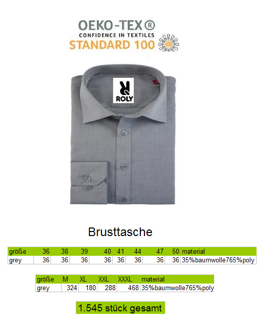 28711 - Business men's shirts with chest pocket Europe