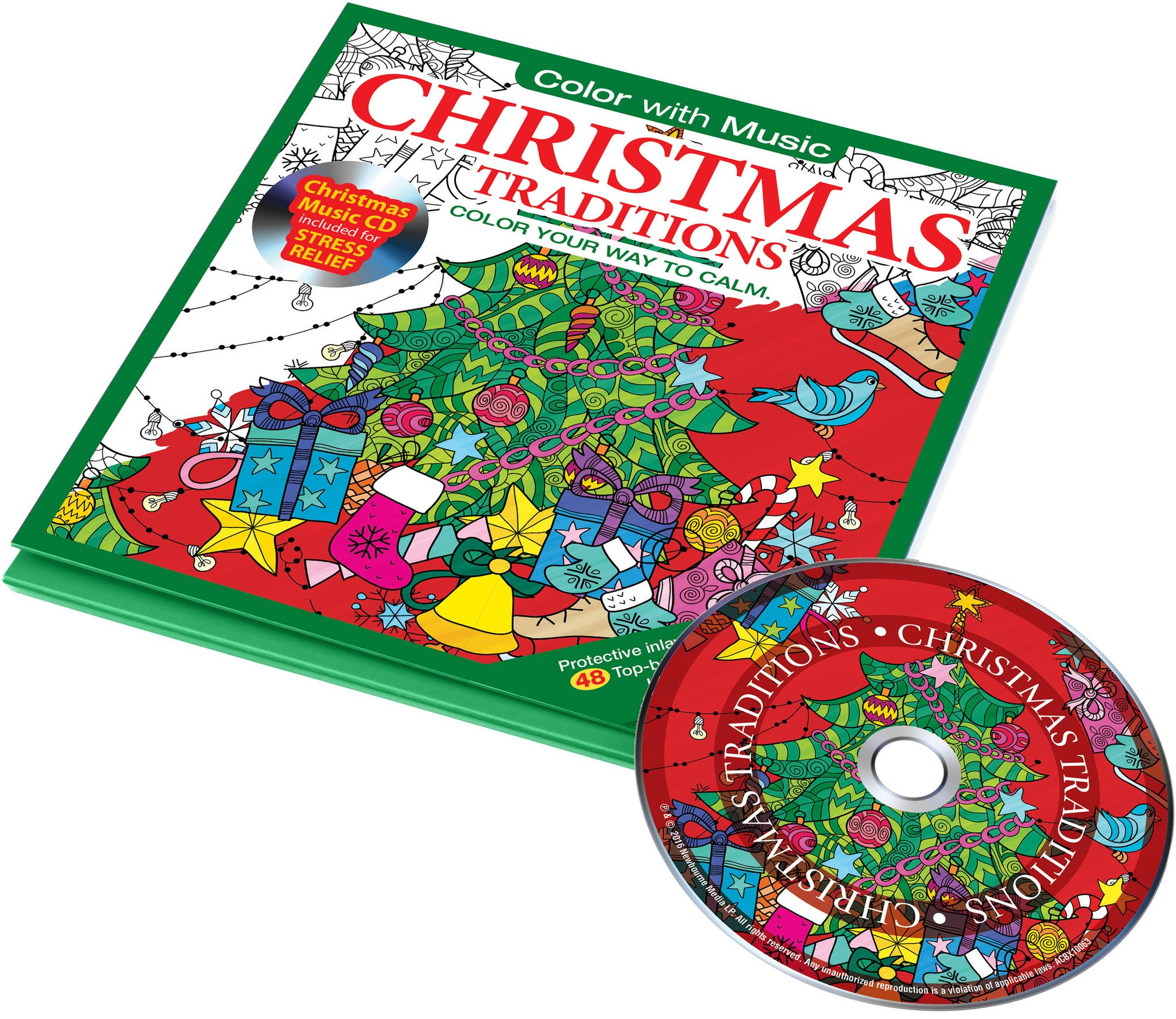 29268 - Christmas Traditions Adult Coloring Pages with Music CD USA