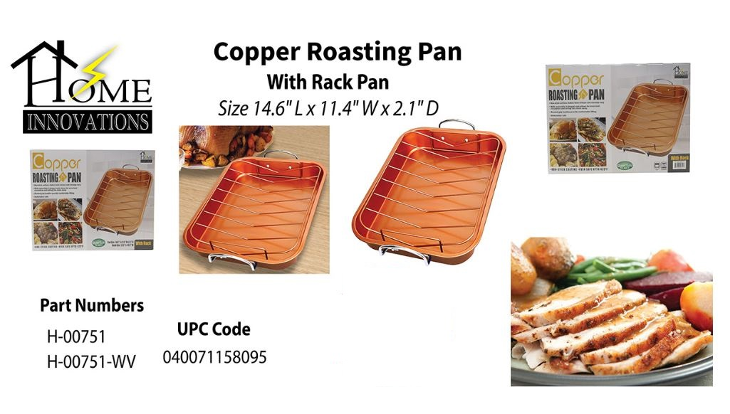 30259 - Home Innovations Copper Roasting Pan with Rack Pan USA