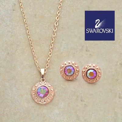 e9b1db139e48 31203 - Swarovski adorned Jewelry Sets    Set x 2 aretes y collar SWAROVSKI  USA