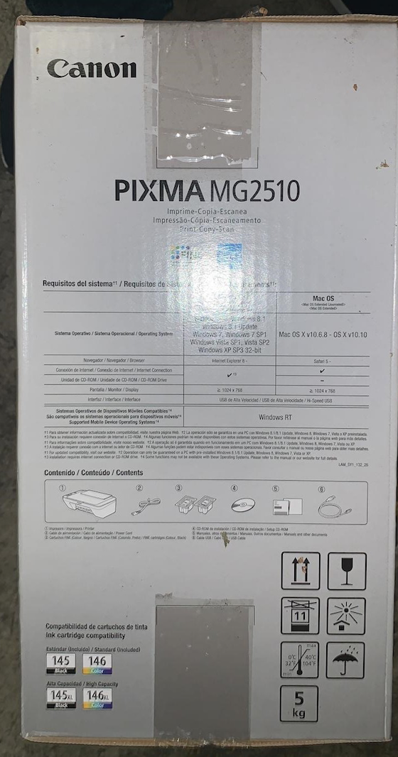 34571 - Canon Pixma All-In-One Print Scan Copy Inkjet Printer MG2510 / MG2520 - New USA