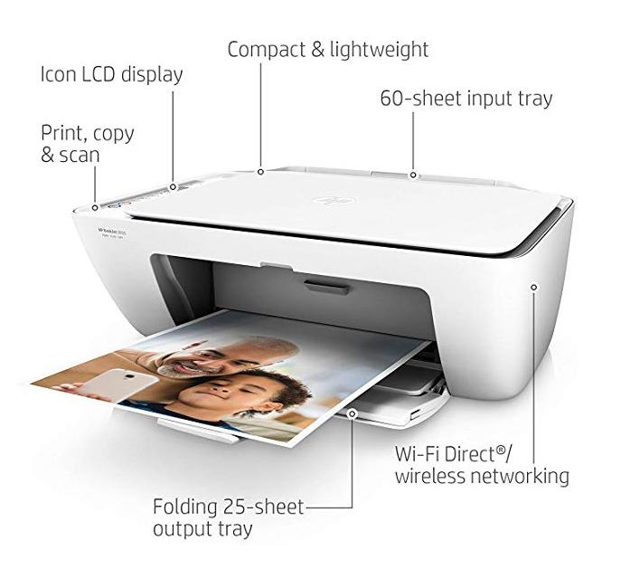 34596 - HP DeskJet 2655 All-in-One Compact Printer, HP Instant Ink - Wireless - White (V1N04A) - New USA