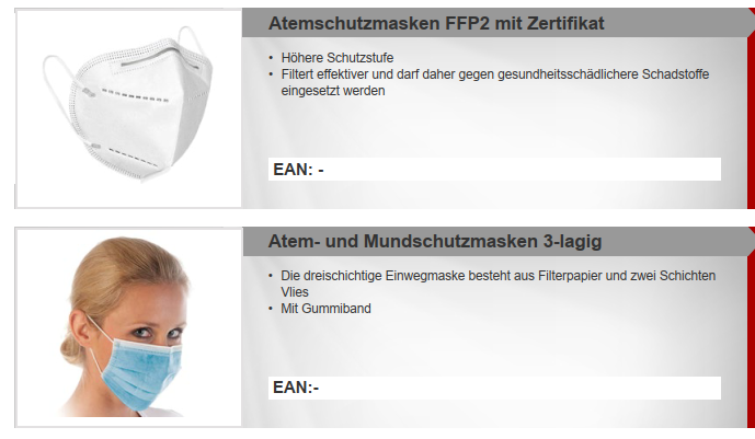 36243 - 3ply face masks / FFP2 Europe