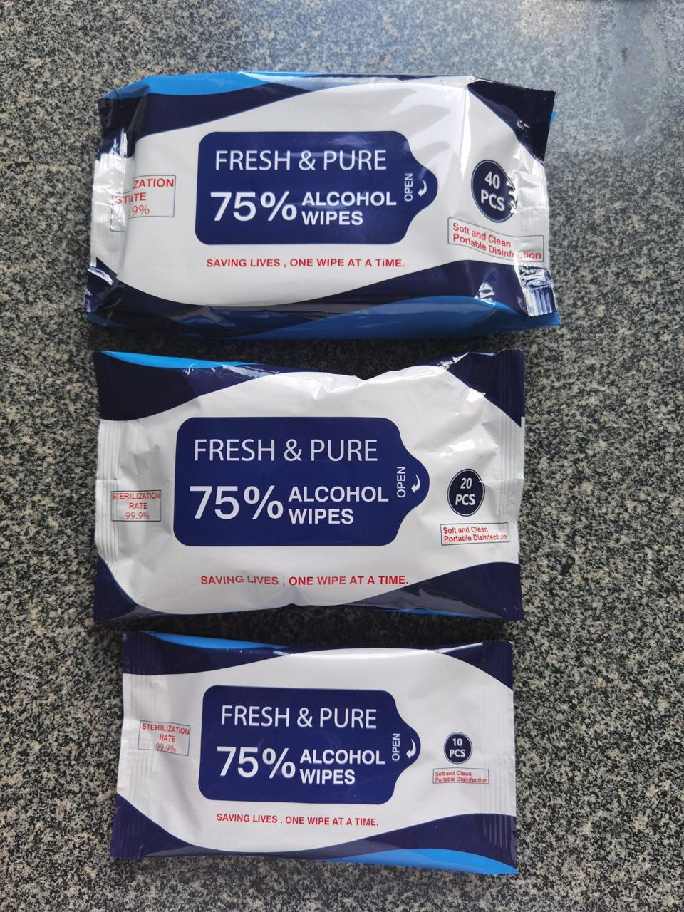 38510 - FRESH & PURE 75% Alcohol 40ct Wipes USA