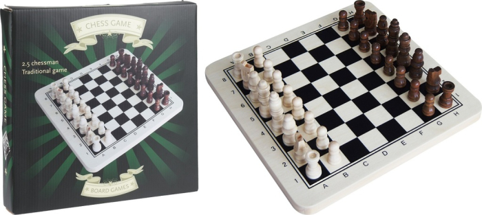 40003 - CHAMP chess board game, wood (black / white) Europe